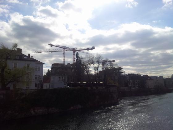 Neu Ulm Jahnufer Wohnen am Jahnufer  Alte Produktionsgelände der Firma Lebkuchen Weiss und die Flussmeisterei März 2014 (1)