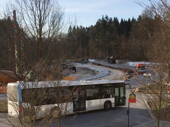 Mähringer Weg und Uni Süd,  Betonfundament, 22. 3. 2018