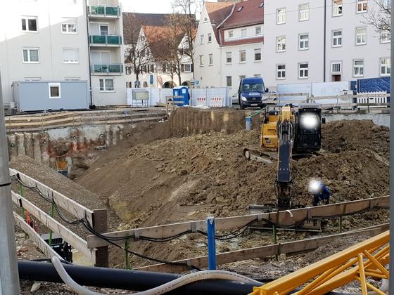 Ulm, Rad Gasse, Gideon-Bacher-Strasse, Neubau, Januar 2019