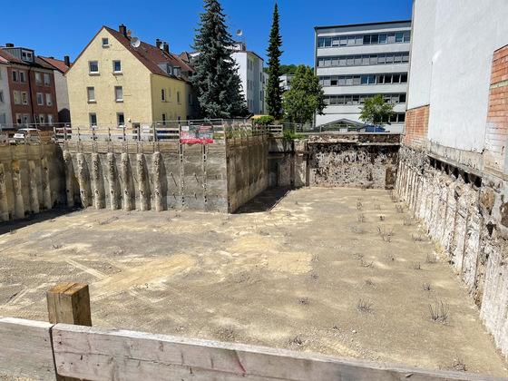 Ulm , Neubau , Baugrube, Juni 2021