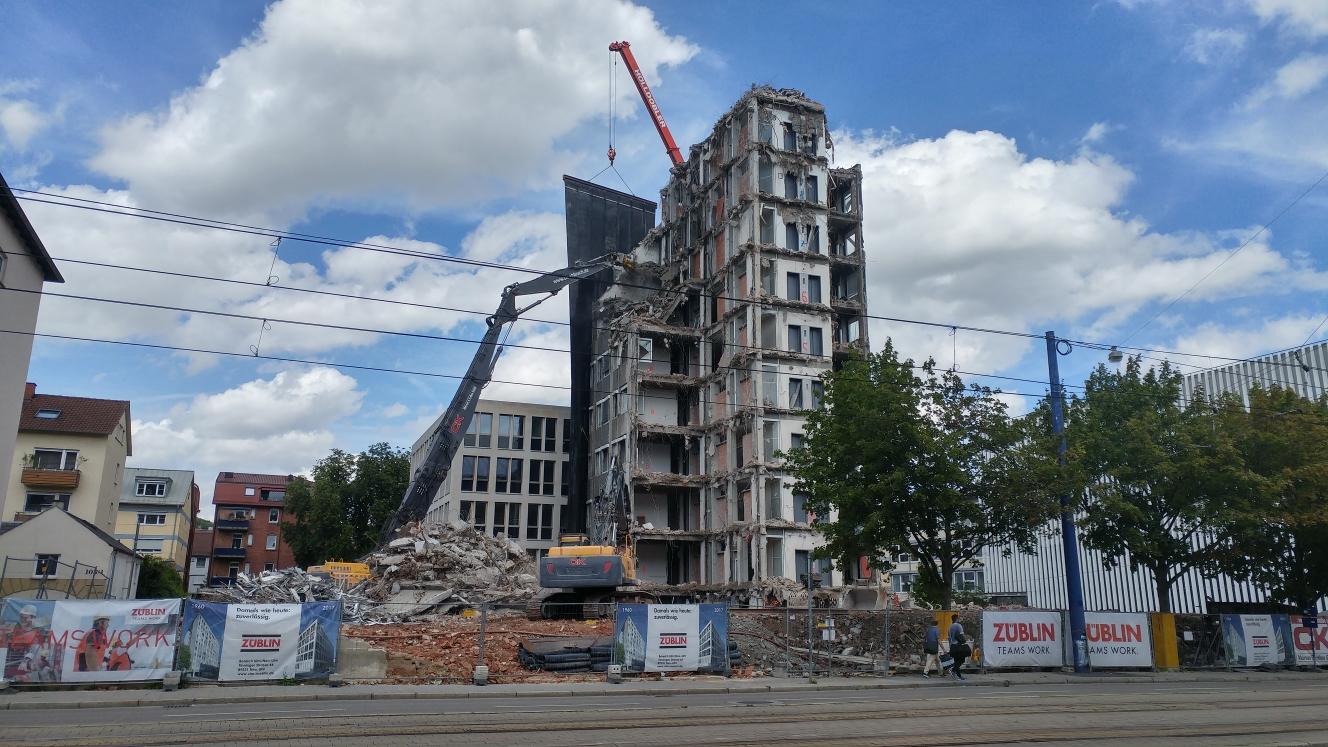 Ulm Abriss Justizhochhaus Olgastrasse Juli 2017