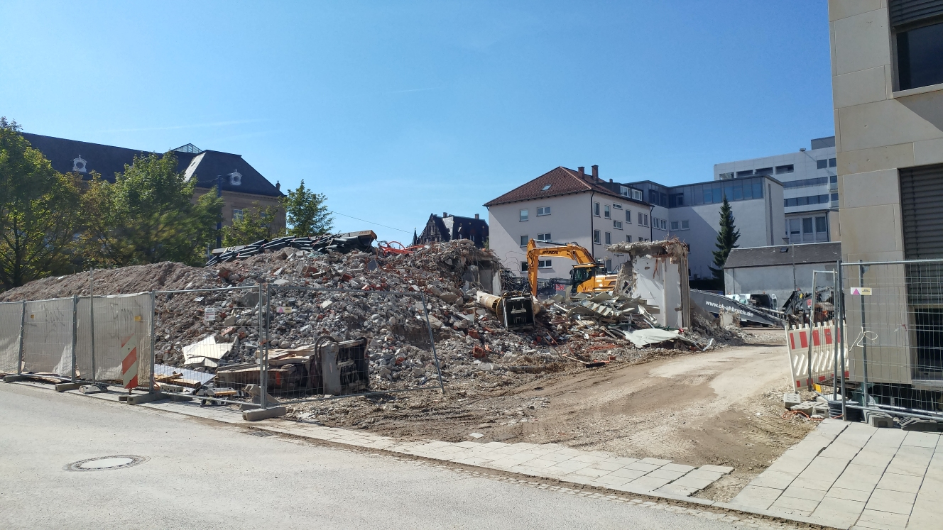 Ulm Abriss Justizhochhaus Olgastrasse September 2017